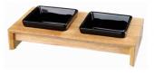 Керамични купички на дървена  стойка - 24820